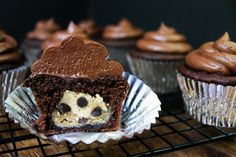 Salted Dark Chocolate Cupcakes stuffed with Chocolate Chip Cookie Dough | Dinner, then Dessert