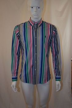 Preppy Mens Polo Ralph Lauren Multicolor Striped Button Up Shirt 90s 80s | Clothing, Shoes & Accessories, Men's Clothing, Casual Shirts | eBay!