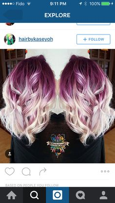 Purple and white dyed hair