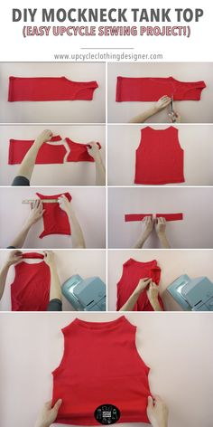 Create this DIY mock neck tank top from your old knit tops. You can make the neckline higher or lower as you wish. The step by step upcycle tutorial teaches you how to change neckline easily. It's totally beginner level sewing project everyone can do. Diy Clothes Tops, Diy Clothes Rack, Diy Clothes Refashion, Sewing Kids Clothes, Diy Clothes Videos, Refashioned Clothes, Fashion Sewing, Diy Fashion, Ideias Fashion