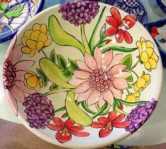 Large serving bowl- Damariscotta Pottery-painted by Mary- Facebook: Damariscotta Pottery