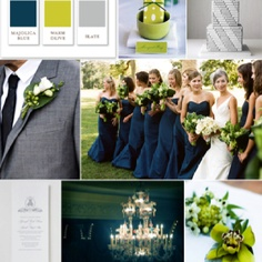Wedding Color Scheme Ideas, navy blue lime green and gray