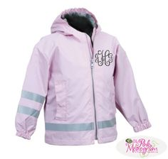 Monogrammed Rain Jackets For Kids :Bella Latella- Monogramming & More #monogram #gift #personalized #present #baby #adult #graduation #travel #personal #unique #doppkit #sorority #totebag #purse #picnic www.BellaLatella.com