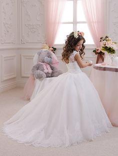 White Ivory Flower Girl Dress - Wedding Party Holiday Birthday Bridesmaid Flower Girl White Ivory Tulle Dress