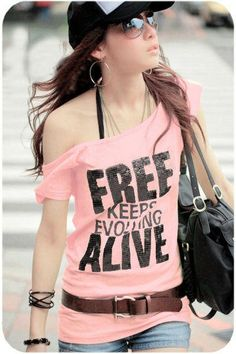 Pink Fashion Printed T-Shirt Korean Style