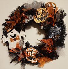 Happy Ghost Wreath,Halloween wreath, Ready to Ship Affordable Wreath, Wreath Gift, Halloween Treat, Halloween Decoration by WEEDsByRose on Etsy