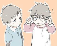 Blue exorcist. Rin, give back Yukio's glasses! :P