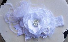 Cloud Soft boutique headband at Mckenzie Grace Designs $23.99 #wedding #baptisms #christening #allwhite