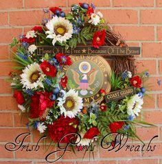 Honored Veteran Patriotic Wreath, Custom Order for Casandra - $239.99, plus $24 shipping