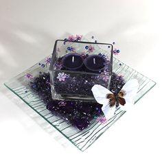 Dekoration med lilla spejlglas #Bordpynt #Dekoration