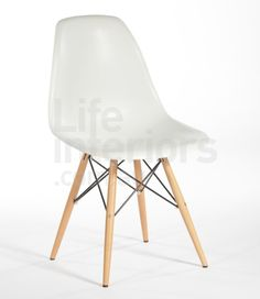 Replica DSW - Dining Side Chair Wooden Legs - White