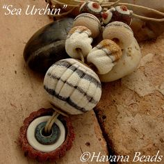 SEA URCHIN  -  Large Hollow Laampwork Focal, Bead Ring and 6 Coordinating Beads by HavanaBeads.etsy.com