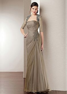 Strapless Neckline Full Length Mother of the Bride Dress with A Jacket