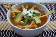I've been dying to find a tortilla soup recipe that reminds me of the heaven I had in El Paso... this looks right to me