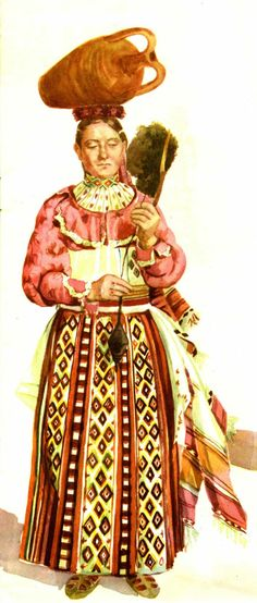 Albanian woman's folk dress from Myzeqeja/Fier (southwestern Albania)