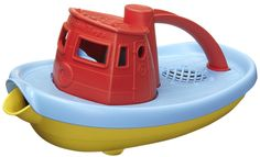 A toy made of 100% recycled milk jugs? Works for us! We love this My First Red Tug Boat from Green Toys!