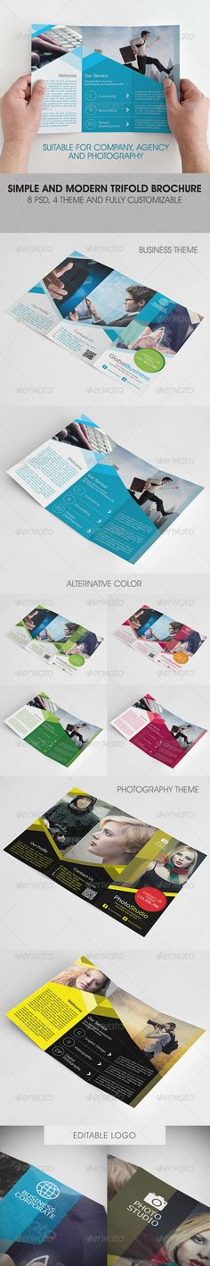 Simple Corporate Business Trifold Brochure — Photoshop PSD #photographer #leaflet • Available here → https://graphicriver.net/item/simple-corporate-business-trifold-brochure/3822424?ref=pxcr