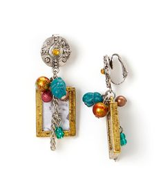 Another great find on #zulily! Turquoise & Gold Boy Frame Clip-On Earrings by Treska #zulilyfinds