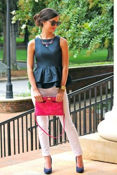 0c62b459563 Love the peplum top and white pants