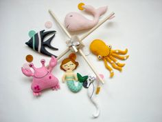 Nursery Mobile-Baby Mermaid mobile Mobile-Babys by SpringHop