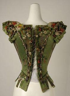 European bodice, 18th century,. Silk, metal thread. At the MET Museum, New York
