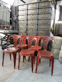 Metal chairs and industrial drawers..love