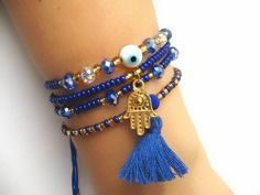 Pulseras de Bisuteria Informations sur notre site Seed Bead Jewelry, Cute Jewelry, Jewelry Crafts, Jewelry Accessories, Jewelry Design, Evil Eye Jewelry, Evil Eye Bracelet, Bracelet Set, Handmade Beaded Jewelry