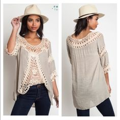 Boho Crochet Top/Tunic New with tags! Top wit crochet detailing True to size, loose fitting! Material is 60% Cotton and 40% Polyester  •S (0-4) •M (6-8) •L (10-12) Tops Tunics