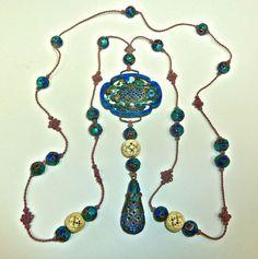 Antique Chinese Mandarin Court Carved Bone Cloisonne Beads Pendant Necklace | eBay $658
