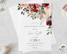 Fall Engagement Party Invitations for the bride to be! This beautiful customizable engagement invite is PURE PERFECTION! Bridal shower themes are hard to pick and this invite for brides is stunning for a fall shower. #bridal #bridalshower #fallwedding #bridalparty #invite #invitations #florals #flowers
