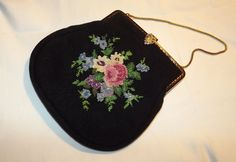 Vintage, Purse, Bag, Petit Point, Evening Bag, Gift, Tapestry, Flowers, Handbag, Wedding, Needlework, Gilt Frame, Diamante, Handmade by DecadentAndFabulous on Etsy