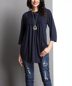 Another great find on #zulily! Navy Notch Neck Pin Tuck Tunic #zulilyfinds