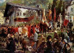 """Corpus Christi Procession in Hofgastein"". (by Adolph von Menzel). ---------------------------https://es.pinterest.com/favillana/tableaux-messes-et-processions/"