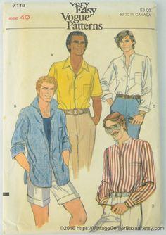 Vogue 7118 Pattern Men's Shirt, Sewing Pattern, Size 40, UNCUT by vintagecornerbazaar. Explore more products on http://vintagecornerbazaar.etsy.com