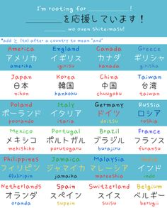 Rooting for your country Japanese words arghlblargh!