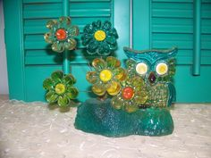 Vintage Lucite OWL with Flowers Sculpture  70's - Translucent