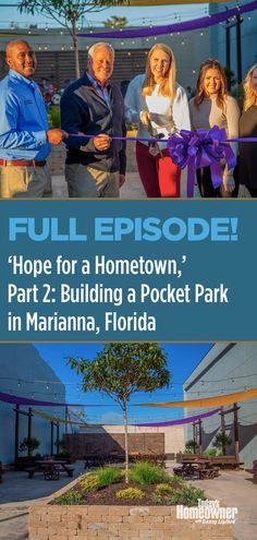 We're wrapping up a pocket park we started last week to bring hope to Marianna, #Florida. Watch the exciting conclusion as this grim reminder of a hurricane becomes a symbol of hometown pride! #todayshomeowner #dannylipford #chelsealipfordwolf #diy #homeimprovement #community #park Marianna Florida, Paver Blocks, Pocket Park, Take Five, Long Time Friends, The Right Man, My Buddy, Full Episodes