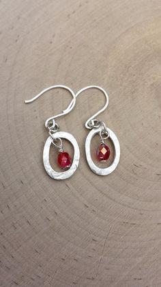 Silver Oval Hoop Earrings - Red Czech glass beads earrings - hammered silver earrings - dangle earrings   - Unique silver earrings - modern