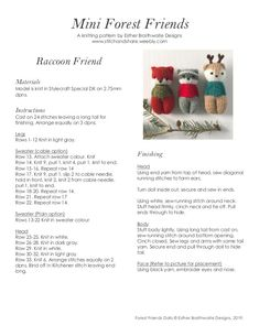 a knit and crochet community Ravelry: Purchase from Store: Esther Braithwaite Designs Knitted Doll Patterns, Animal Knitting Patterns, Knitted Dolls, Doll Clothes Patterns, Knitting Videos, Free Knitting, Knitting Projects, Baby Knitting, Crochet For Kids