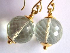 Green Amethyst Earrings Gold Vermeil Sterling by pinkowljewelry