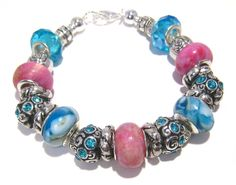 Pink/Blue Beaded Bracelet with Large Hole Beads by BrankletsNBling