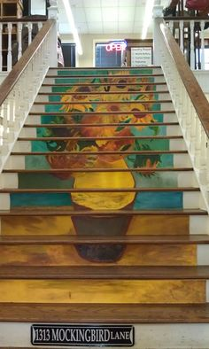 Beautiful Painted Staircase Ideas for Your Home Design Inspiration Interior Stairs, Interior Exterior, Interior Design, Stairs Painted Like Books, Staircase Pictures, Staircase Ideas, Railing Ideas, Modern Staircase, Stair Risers