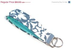 SALE Key FOB / KeyChain / Wristlet key strap Gray by Laa766 pads: chic / cute / preppy / laptop accessory / desk, computer accessory / office decor / gift / patterned design / school