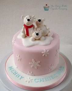 the clever little cupcake company - christmas - christmas cake - polar bear cake. id definitely want a red cake not a pink one but the idea is cute. Christmas Cake Designs, Christmas Cake Topper, Christmas Cake Decorations, Christmas Cupcakes, Christmas Sweets, Holiday Cakes, Christmas Cooking, Christmas Christmas, Christmas Wedding