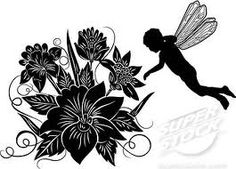 Flower with fairy silhouette