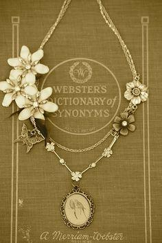Necklace over vintage book
