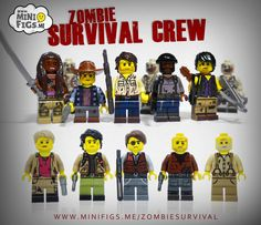 """Want to survive the LEGO zombie apocalypse? You're going to need some help. Get these fully custom printed LEGO minifigs inspired by The Walking Dead and cheer up any home! The full set includes a free zombie, so they have something to fight! Printed onto genuine LEGO Parts! """"LEGO®"""" is a trademark of the LEGO Groups of companies. The LEGO Group does not sponsor, authorize or endorse this website nor any of the customised/modified products or sets shown on it nor does it..."""