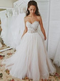 Wedding Dresses Sweetheart Long Wedding Dress with Lace Top - Shop Sweetheart Wedding Dress which is of great quality Online. More Bridesmaid Dresses are on sale now. Western Wedding Dresses, Wedding Dress Train, Sweetheart Wedding Dress, Long Wedding Dresses, Perfect Wedding Dress, Princess Wedding Dresses, Tulle Wedding, Bridal Dresses, Stunning Wedding Dresses