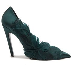 Balenciaga Feather-embellished satin pumps (£995) ❤ liked on Polyvore featuring shoes, pumps, balenciaga, dark green, satin pumps, cocktail shoes, pointy-toe pumps, dark green shoes and pointed toe shoes