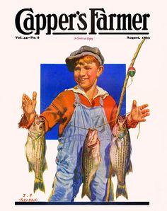 Capper's Farmer 1933-08 Boy shows off three fine fish he caught using his pole and line. Artist: J. F. Kernan